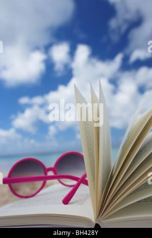 Une paire de lunettes rose reposant sur un livre ouvert sur une plage tropicale déserte Banque D'Images