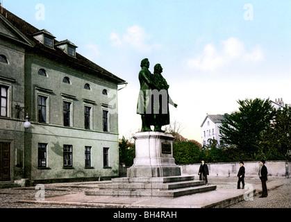 Schiller Goethe und Weimar Denkmal Banque D'Images