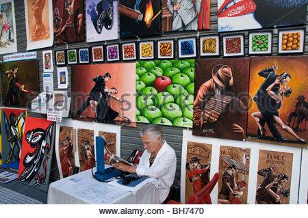 Tango Buenos Aires Argentine La Boca El Caminito Signer Street Painting Banque D'Images