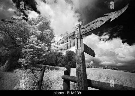 Enseigne sur un chemin de campagne, nr de cerne le haut, Dorset, England, UK Banque D'Images