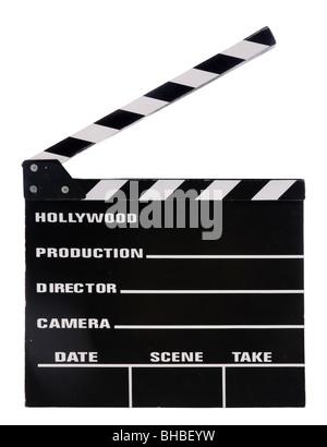 Movie clapper board isolé sur fond blanc Banque D'Images