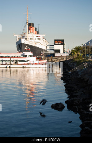 Le RMS Queen Mary à Long Beach, en Californie. Banque D'Images