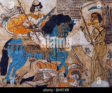 La littérature, les légendes, la Russie, le guerrier et l'Anica la mort, gravure sur bois, fin 18e/début du 19ème Banque D'Images