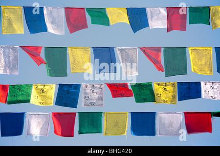 Les drapeaux de prières bouddhistes Banque D'Images