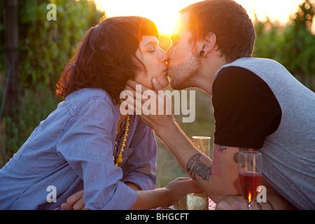 Couple au coucher du soleil Banque D'Images