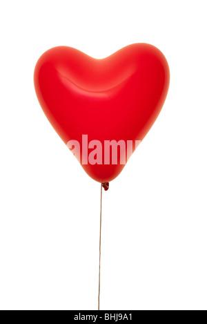 Ballon en forme de coeur rouge Banque D'Images