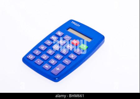 Une calculatrice de poche sur un fond blanc Banque D'Images