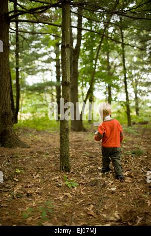 Jeune garçon jouant dans les bois. Banque D'Images