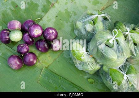 Les aubergines et les courgettes en vente dans le marché de Luang Prabang Banque D'Images