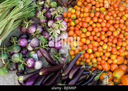 Les aubergines et les tomates à Luang Prabang a marché tôt le matin Banque D'Images