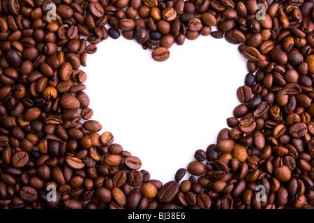 Coeur de grains de café. Tourné en studio. Banque D'Images