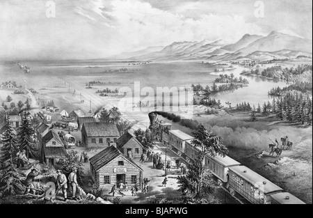 Lithographie en noir et blanc vers 1868 représentant la propagation de colons vers l'ouest à travers les Etats-Unis Banque D'Images