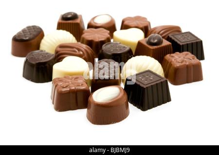 Un assortiment de chocolats belges Banque D'Images
