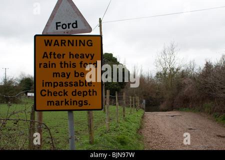 Panneau d'avertissement d'inondation Ford Banque D'Images