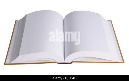 Livre ouvert avec des pages vierges isolé sur fond blanc Banque D'Images