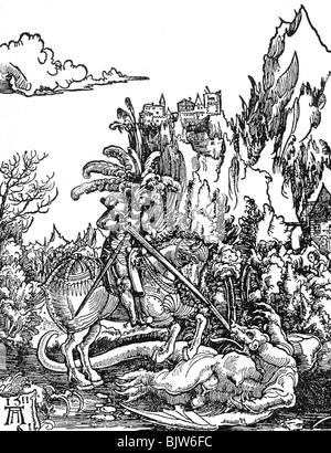 Saint George, + vers 303, martyr et saint dans le besoin d'aide, se battre avec le dragon, gravure sur bois par Banque D'Images