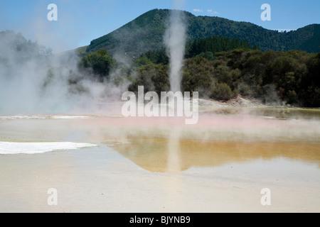 L'eau riche en minéraux de débordement Piscine Champagne Wai-O-Tapu Thermal Wonderland entre Taupo et Rotorua Nouvelle Zélande