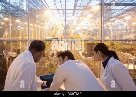 Les scientifiques qui travaillent en laboratoire à effet