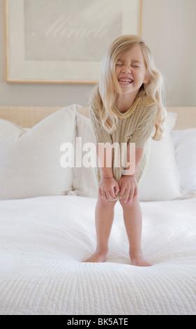 Fille avec de grand sourire Banque D'Images