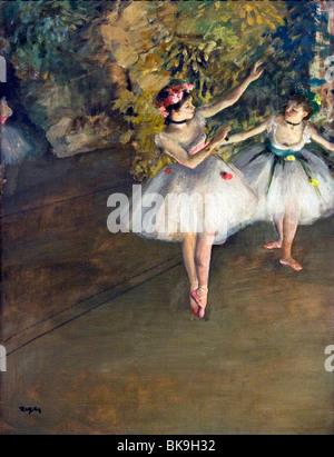Deux danseurs sur scène, par Edgar Degas, 1874, Angleterre, Londres, Courtauld Institute et galeries, 1834-1917