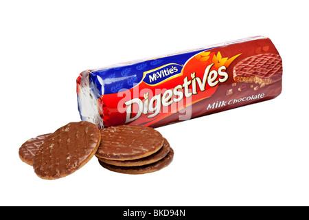 Le chocolat au lait, biscuits digestifs découpe studio sur fond blanc Banque D'Images