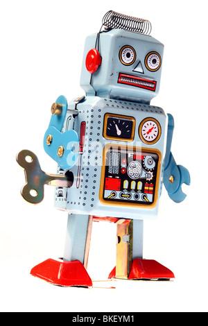 Les jouets, robot composé de métal, d'une liquidation robot avec une clé dans le dos Banque D'Images