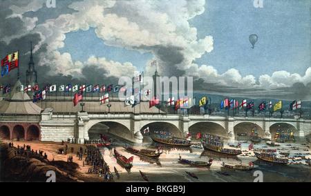Couleur d'impression gravure contemporaine illustrant l'ouverture du nouveau pont de Londres sur la tamise le 1 Banque D'Images