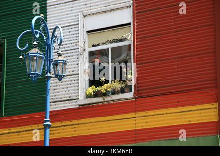 Un mur coloré dans le Caminito, la Boca, Buenos Aires Banque D'Images