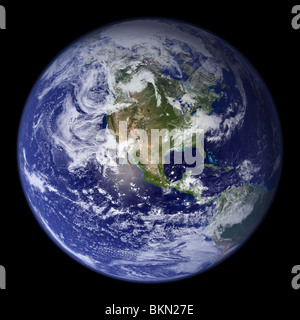 Terre vue de l'espace, avec l'Amérique du visible. Banque D'Images