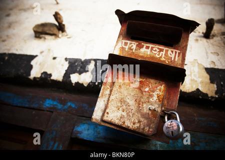 Boîte aux lettres à Kagbeni, Népal le samedi 31 octobre 2009. Banque D'Images