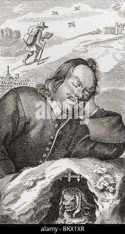 Le rêve de Bunyan. Frontispice du progrès de Pilgrim, 1680. John Bunyan, 1628 - 1688. Écrivain et prédicateur chrétien.