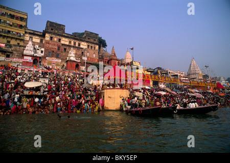 L'Inde, Uttar Pradesh, Varanasi, Gange, festival kartik purnima Banque D'Images