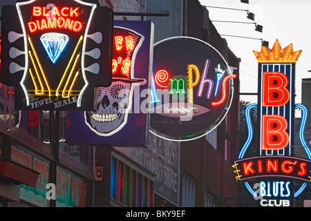 Les clubs de blues de Beale Street, Memphis, Tennessee, États-Unis Banque D'Images
