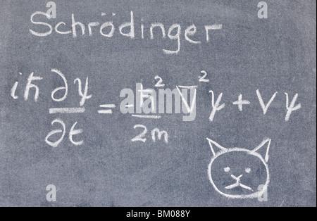 L'équation de Schrodinger écrit sur un tableau noir