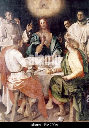 Le souper à Emmaüs de Jacopo Pontormo, (mannerist Painter), l'Italie, Florence, Galleria degli Uffizi Banque D'Images
