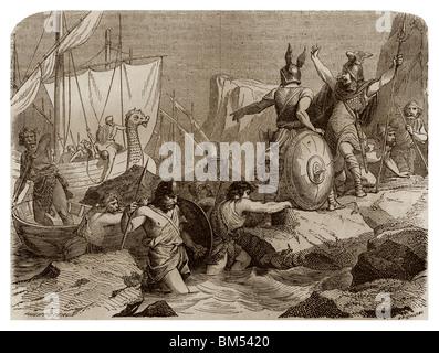 Vers 810, Les Vikings sont venus à pirater le long des côtes de Frise (Allemagne actuelle). Banque D'Images