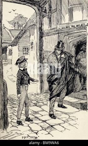 Oliver rencontre un mystérieux étranger. Banque D'Images