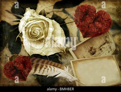 Grunge image avec rose et coeurs Banque D'Images