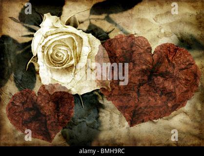 Grunge image de rose et coeurs Banque D'Images