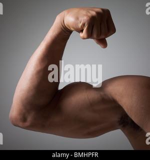 Flexion du bras musclé Banque D'Images