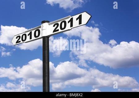 Panneau de l'an pour les années 2010 et 2011 Banque D'Images