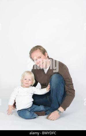 Père avec son fils de trois ans