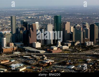 Vue aérienne au-dessus du centre-ville de Houston au Texas Banque D'Images