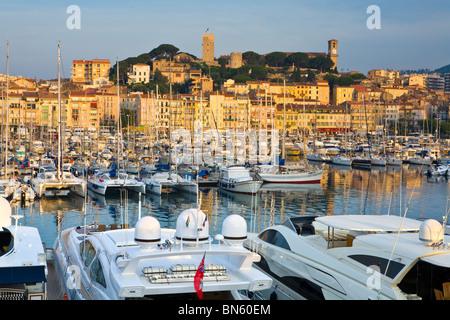 Le lever du soleil sur le Vieux Port (vieux port) et du vieux quartier du Suquet, Cannes, Cote d'Azur, France Banque D'Images