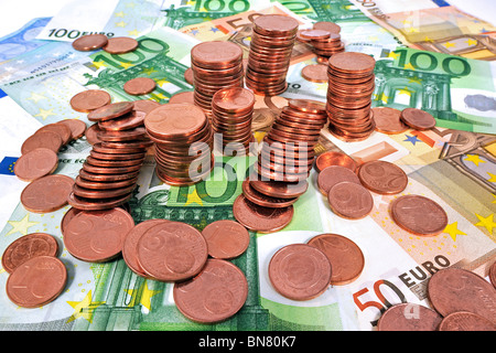L'argent dans la zone euro comme monnaie billets de banque et les pièces, Belgique Banque D'Images