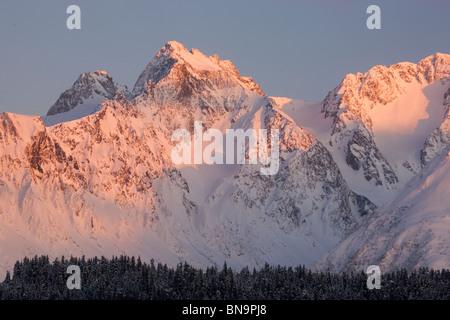 L'hiver dans la forêt nationale de Chugach, Seward, Alaska. Banque D'Images