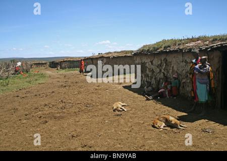 Photo d'un village Masai Masai Mara National Reserve intérieur , Kenya Banque D'Images