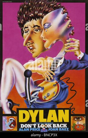 Ne pas regarder en arrière pour l'affiche 1967 Leacock-Pennebaker film avec Bob Dylan et Joan Baez Banque D'Images