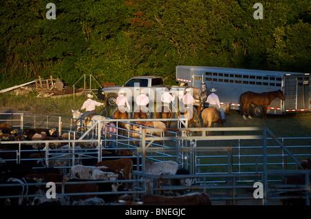 Les membres de l'érythroblastopénie Cowboy backstage rodeo se préparent pour l'événement de Bridgeport, Connecticut, USA