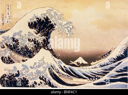 La grande vague de Kanagawa par Katsushika Hokusai estampe période Edo 19ème siècle 1760-1849 Musée national de Banque D'Images